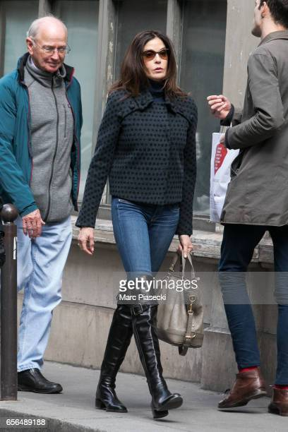 Actress Teri Hatcher and her father Owen W Hatcher are spotted leaving the 'Galerie Vivienne' on March 22 2017 in Paris France