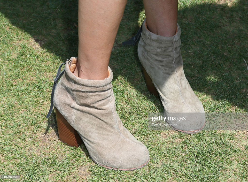 Actress Teri Hatcher (shoe detail) attends the Teri Hatcher Celebrity Yard Sale and Auction benefiting the Juvenile Arthritis Association at The Americana at Brand on April 27, 2013 in Glendale, California.