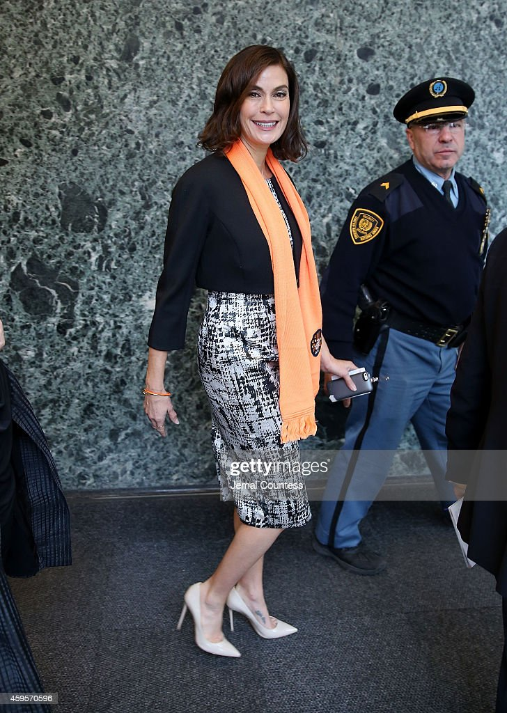 Actress Teri Hatcher departs the United Nations following the United Nations Official Commemoration of the International Day For The Elimination Of Violence Against Women on November 25, 2014 in New York City.