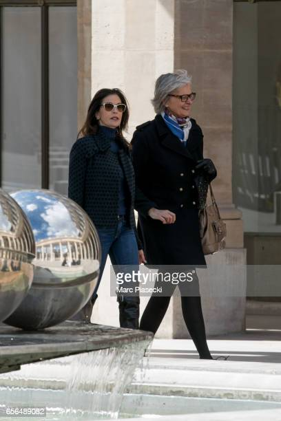 Actress Teri Hatcher is spotted in front of the Louvre pyramid on March 22 2017 in Paris France