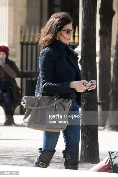 Actress Teri Hatcher is spotted in the Palais Royal gardens on March 22 2017 in Paris France