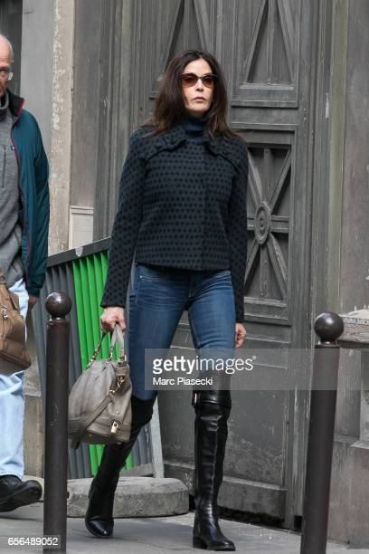 Actress Teri Hatcher is spotted leaving the 'Galerie Vivienne' on March 22 2017 in Paris France