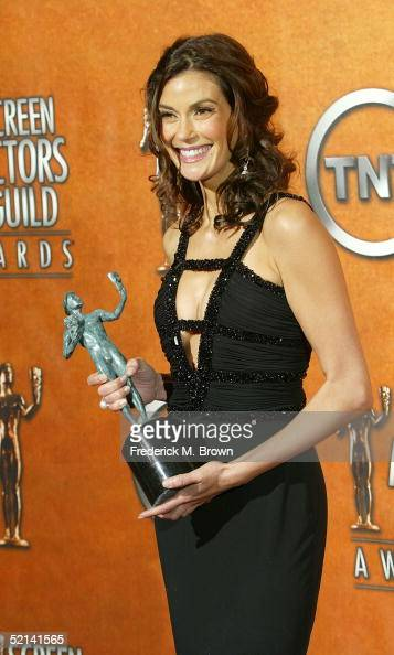 Actress Teri Hatcher poses in the press room at the 11th Annual Screen Actors Guild Awards at the Shrine Exposition Center on February 5 2005 in Los...