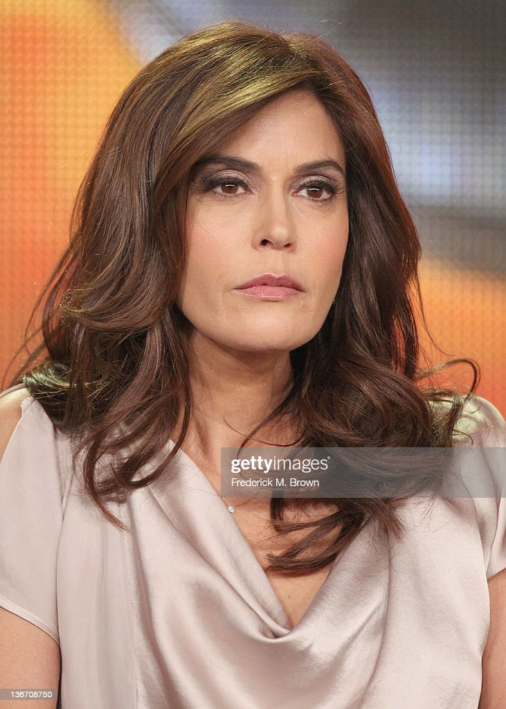 Actress <a gi-track='captionPersonalityLinkClicked' href=/galleries/search?phrase=Teri+Hatcher&family=editorial&specificpeople=202145 ng-click='$event.stopPropagation()'>Teri Hatcher</a> speaks during the 'Desperate Housewives' panel during the ABC portion of the 2012 Winter TCA Tour held at The Langham Huntington Hotel and Spa on January 10, 2012 in Pasadena, California.