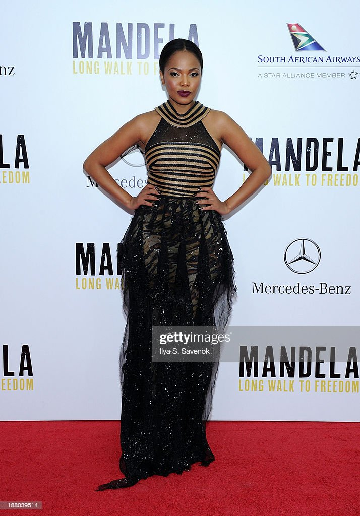 Actress Terry Pheto attends the New York premiere of 'Mandela: Long Walk To Freedom' hosted by The Weinstein Company, Yucaipa Films and Videovision Entertainment, supported by Mercedes-Benz, South African Airways and DeLeon Tequila at Alice Tully Hall, Lincoln Center on November 14, 2013 in New York City.