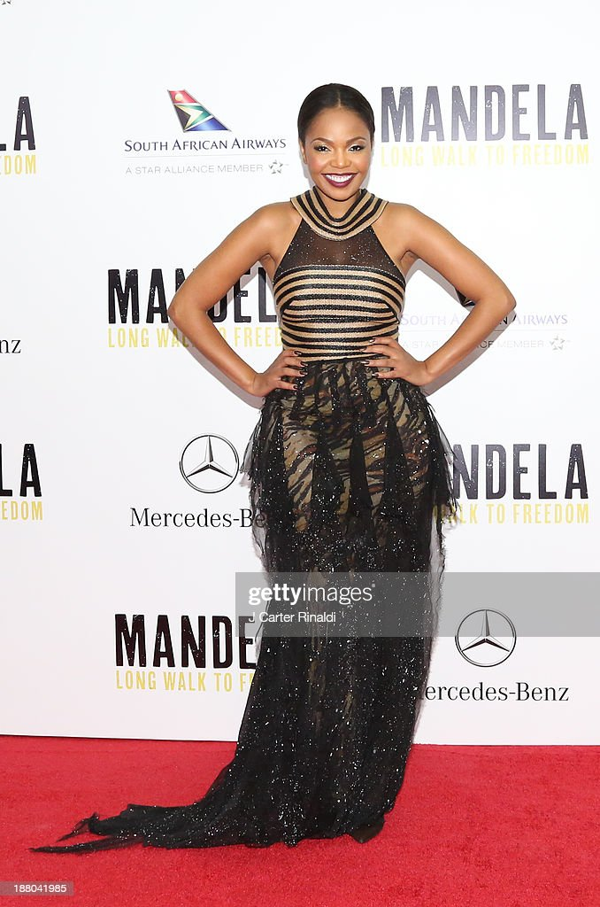 Actress Terry Pheto attends the screening of 'Mandela: Long Walk to Freedom' hosted by The Weinstein Company, Yucaipa Films & Videovision Entertainment, supported by Mercedes-Benz, South African Airways & DeLeon Tequila at Alice Tully Hall, Lincoln Center on November 14, 2013 in New York City.