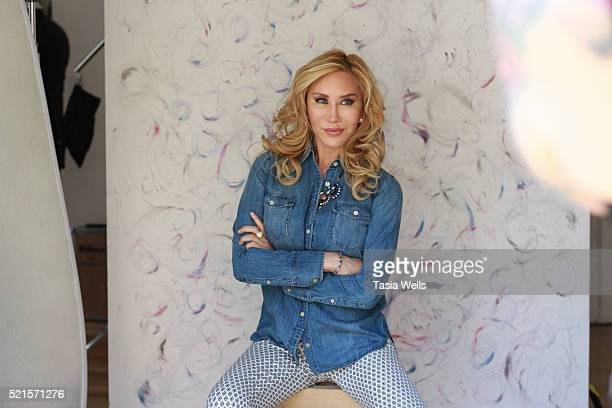 Actress Tess Broussard being photographed by Tasia Wells at The Starving Artists Project on April 13 2016 in Los Angeles California
