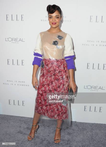 Actress Tessa Thompson arrives at ELLE's 24th Annual Women in Hollywood Celebration at Four Seasons Hotel Los Angeles at Beverly Hills on October 16...