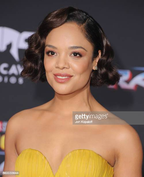 Actress Tessa Thompson arrives at the Los Angeles Premiere 'Thor Ragnarok' on October 10 2017 in Hollywood California