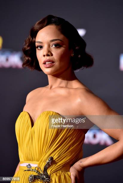 Actress Tessa Thompson arrives at the Premiere Of Disney And Marvel's 'Thor Ragnarok' Arrivals on October 10 2017 in Los Angeles California