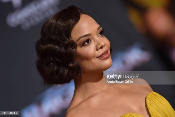 Actress Tessa Thompson arrives at the premiere of Disney and Marvel's 'Thor Ragnarok' at the El Capitan Theatre on October 10 2017 in Los Angeles...