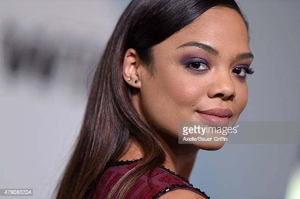 Actress Tessa Thompson arrives at Women In Film 2015 Crystal Lucy Awards at the Hyatt Regency Century Plaza on June 16 2015 in Los Angeles California