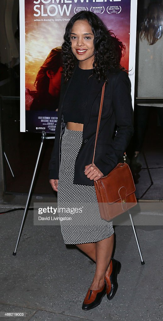 Actress <a gi-track='captionPersonalityLinkClicked' href=/galleries/search?phrase=Tessa+Thompson&family=editorial&specificpeople=808125 ng-click='$event.stopPropagation()'>Tessa Thompson</a> attends a screening of Logolite Entertainment & Screen Media Films' 'Somewhere Slow' at Arena Cinema Hollywood on January 31, 2014 in Hollywood, California.
