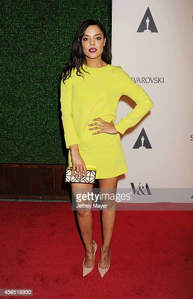 Actress Tessa Thompson attends The Academy of Motion Picture Arts and Sciences' Hollywood Costume Opening Party at the Wilshire May Company Building...