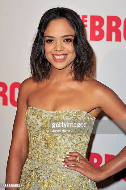 Actress Tessa Thompson attends The Broad Museum Black Tie Inaugural Dinner at The Broad on September 17 2015 in Los Angeles California