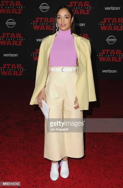 Actress Tessa Thompson attends the Los Angeles Premiere 'Star Wars The Last Jedi' at The Shrine Auditorium on December 9 2017 in Los Angeles...