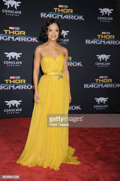 Actress Tessa Thompson attends the premiere of Disney and Marvel's 'Thor Ragnarok' on October 10 2017 at the El Capitan Theater in Hollywood...
