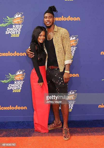 Actress Teyana Taylor and NBA player Iman Shumpert arrive at the Nickelodeon Kids' Choice Sports Awards 2015 at UCLA's Pauley Pavilion on July 16...