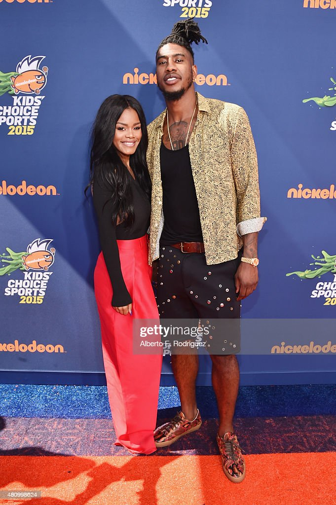 Actress <a gi-track='captionPersonalityLinkClicked' href=/galleries/search?phrase=Teyana+Taylor&family=editorial&specificpeople=4224306 ng-click='$event.stopPropagation()'>Teyana Taylor</a> (L) and NBA player <a gi-track='captionPersonalityLinkClicked' href=/galleries/search?phrase=Iman+Shumpert&family=editorial&specificpeople=5042486 ng-click='$event.stopPropagation()'>Iman Shumpert</a> attend the Nickelodeon Kids' Choice Sports Awards 2015 at UCLA's Pauley Pavilion on July 16, 2015 in Westwood, California.