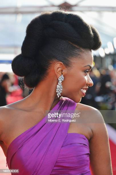 Actress Teyonah Parris arrives at the 19th Annual Screen Actors Guild Awards held at The Shrine Auditorium on January 27 2013 in Los Angeles...