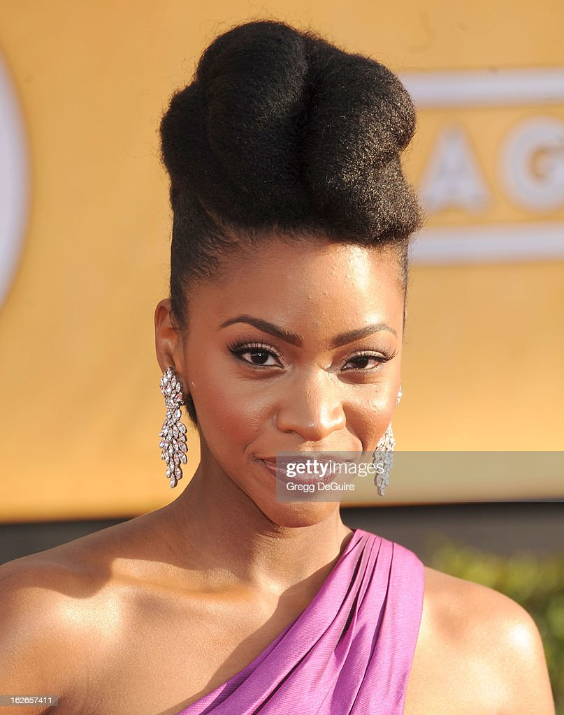 Actress Teyonah Parris arrives at the 19th Annual Screen Actors Guild Awards at The Shrine Auditorium on January 27, 2013 in Los Angeles, California.