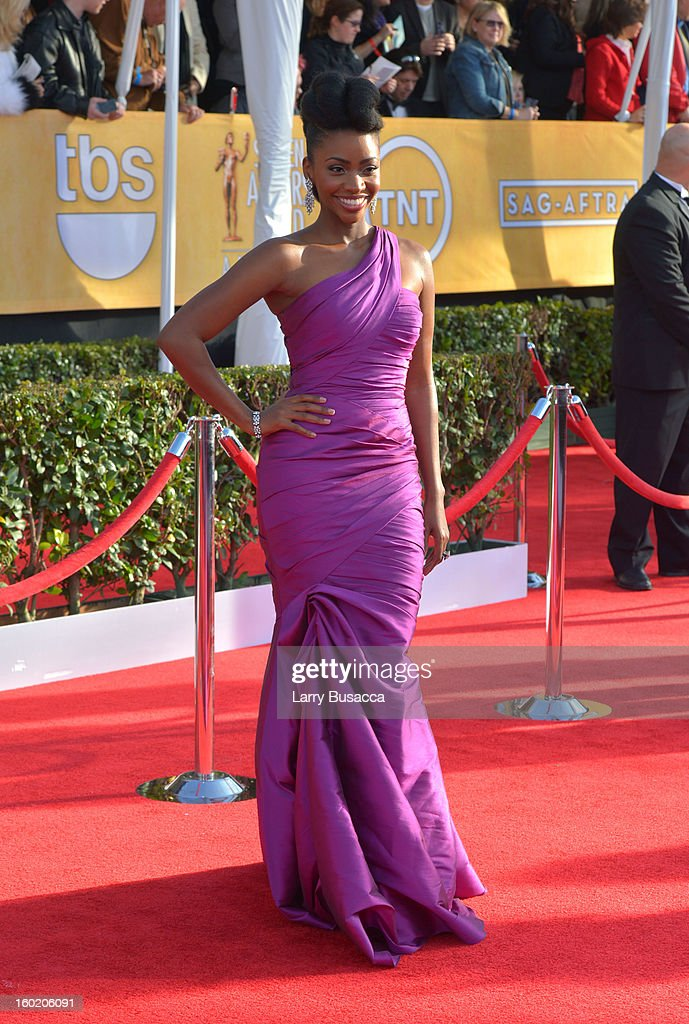 Actress Teyonah Parris attends the 19th Annual Screen Actors Guild Awards at The Shrine Auditorium on January 27, 2013 in Los Angeles, California. (Photo by Larry Busacca/WireImage) 23116_018_0224.JPG