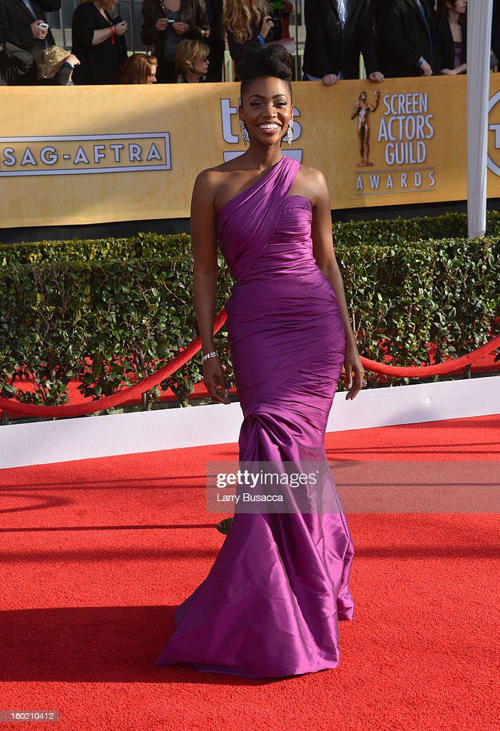 Actress Teyonah Parris attends the 19th Annual Screen Actors Guild Awards at The Shrine Auditorium on January 27, 2013 in Los Angeles, California. (Photo by Larry Busacca/WireImage) 23116_018_0393.JPG