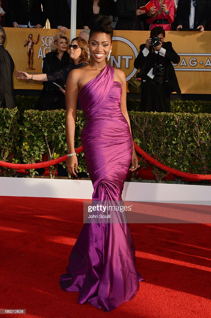 Actress Teyonah Parris attends the 19th Annual Screen Actors Guild Awards at The Shrine Auditorium on January 27, 2013 in Los Angeles, California. (Photo by John Sciulli/WireImage) 23116_014_0374.JPG