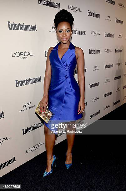 Actress Teyonah Parris attends the 2015 Entertainment Weekly PreEmmy Party at Fig Olive Melrose Place on September 18 2015 in West Hollywood...