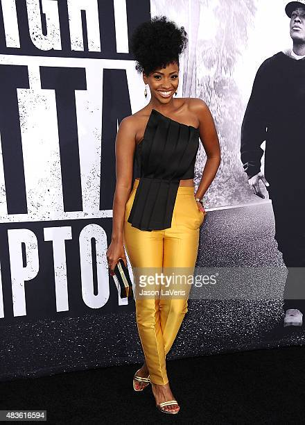 Actress Teyonah Parris attends the premiere of 'Straight Outta Compton' at Microsoft Theater on August 10 2015 in Los Angeles California