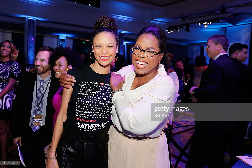 Actress Thandie Newton and Oprah Winfrey attend the 2016 ESSENCE Black Women In Hollywood awards luncheon at the Beverly Wilshire Four Seasons Hotel on February 25, 2016 in Beverly Hills, California.