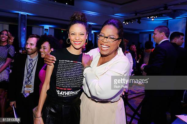 Actress Thandie Newton and Oprah Winfrey attend the 2016 ESSENCE Black Women In Hollywood awards luncheon at the Beverly Wilshire Four Seasons Hotel...