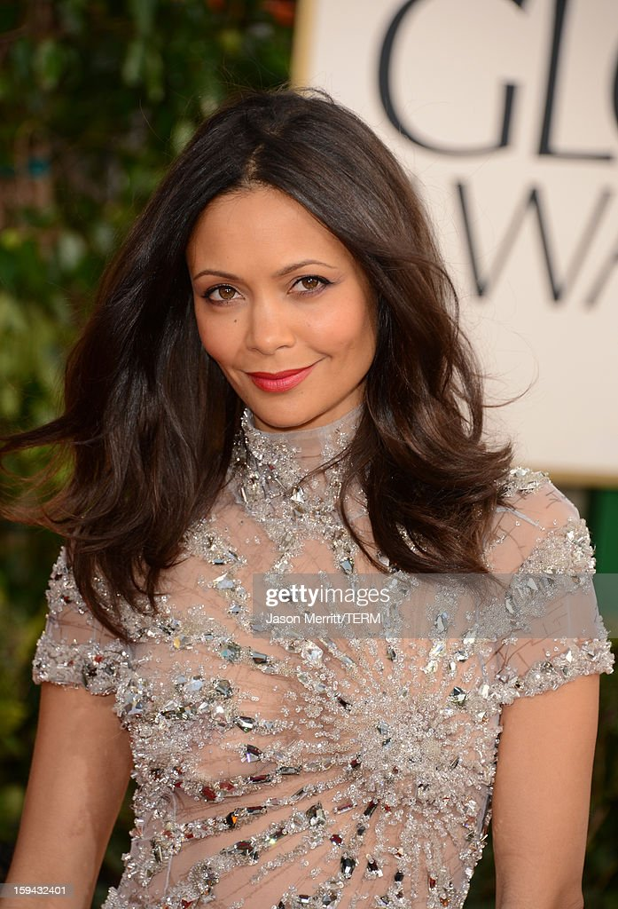Actress Thandie Newton arrives at the 70th Annual Golden Globe Awards held at The Beverly Hilton Hotel on January 13, 2013 in Beverly Hills, California.