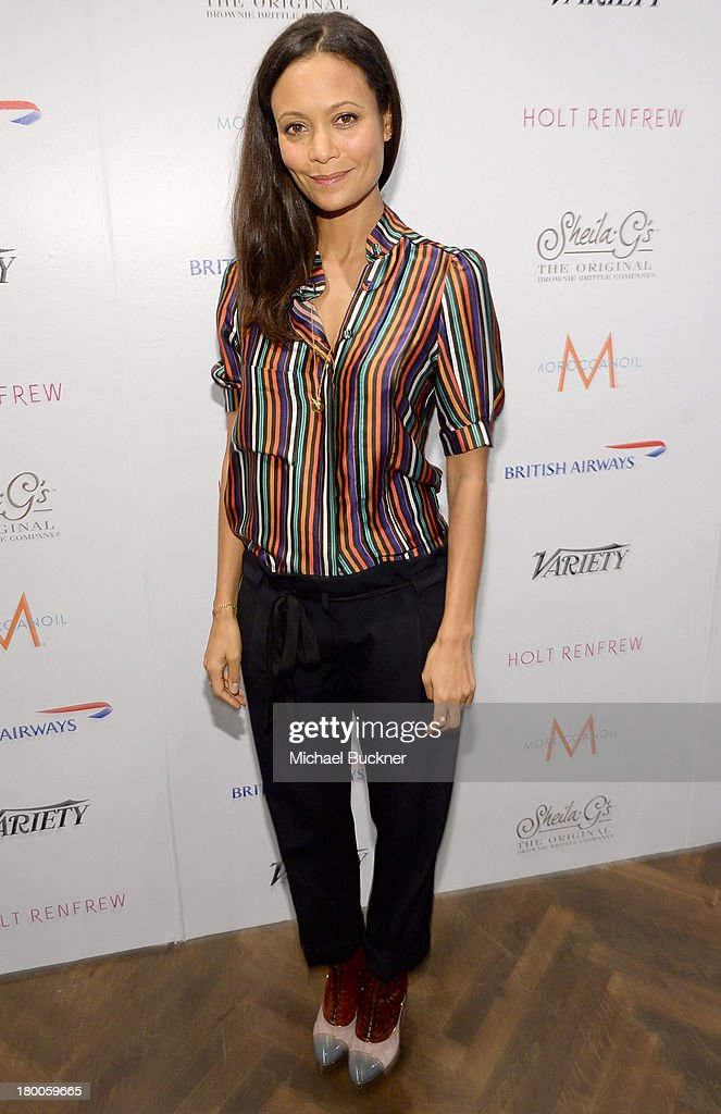 Actress Thandie Newton attends Variety Studio presented by Moroccanoil at Holt Renfrew during the 2013 Toronto International Film Festival on...