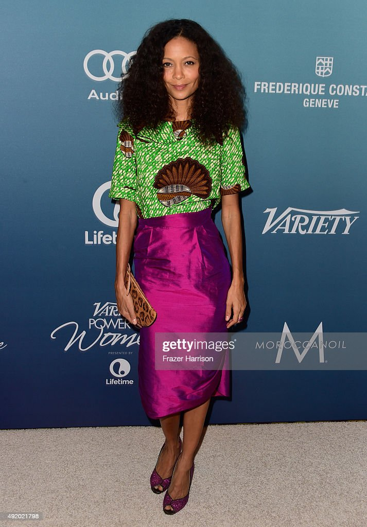 Actress <a gi-track='captionPersonalityLinkClicked' href=/galleries/search?phrase=Thandie+Newton&family=editorial&specificpeople=210812 ng-click='$event.stopPropagation()'>Thandie Newton</a> attends Variety's Power Of Women Luncheon at the Beverly Wilshire Four Seasons Hotel on October 9, 2015 in Beverly Hills, California.