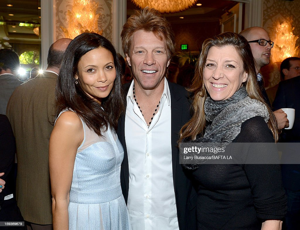 Actress Thandie Newton, musician Jon Bon Jovi and Dorthea Hurley attend the BAFTA Los Angeles 2013 Awards Season Tea Party held at the Four Seasons Hotel Los Angeles on January 12, 2013 in Los Angeles, California.