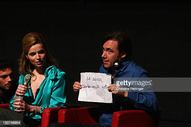 Actress Thekla Reuten and actor Michael Herbig attend the 'Hotel Lux' press conference during the 6th International Rome Film Festival on October 29...