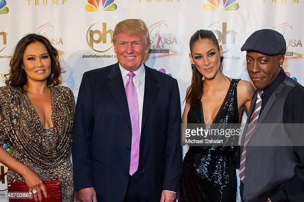 Actress Tia Carrere Donald Trump Miss Universe 2008 Dayana Mendoza and actor Arsenio Hall attend the 2012 Miss USA pageant red carpet at Planet...