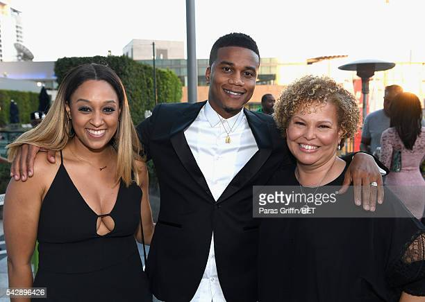 Actress Tia Mowry actor Cory Hardrict and BET Chairman/CEO Debra L Lee attend the ABFF Winners Reception and VIP Celebration in honor of the winning...