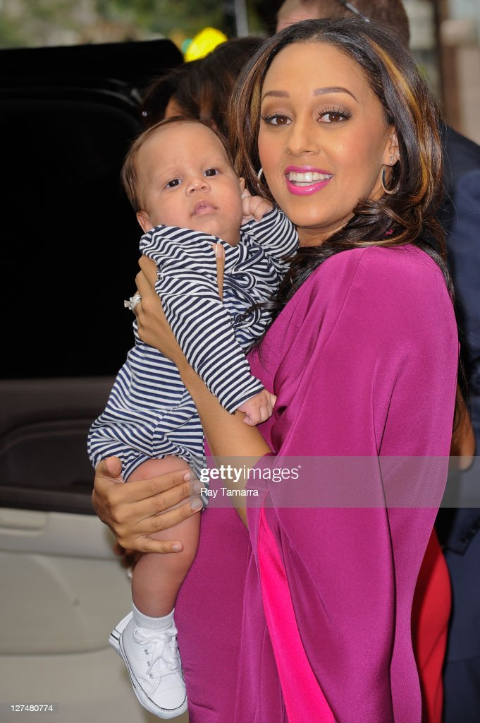 Actress Tia Mowry and her son Cree Hardrict leave the 'Wendy Williams Show' taping at the AMV Studios on September 27 2011 in New York City