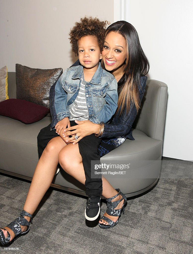 Actress <a gi-track='captionPersonalityLinkClicked' href=/galleries/search?phrase=Tia+Mowry&family=editorial&specificpeople=631098 ng-click='$event.stopPropagation()'>Tia Mowry</a> and son Cree (L) visits 106 & Park at 106 & Park on September 23, 2013 in New York City.