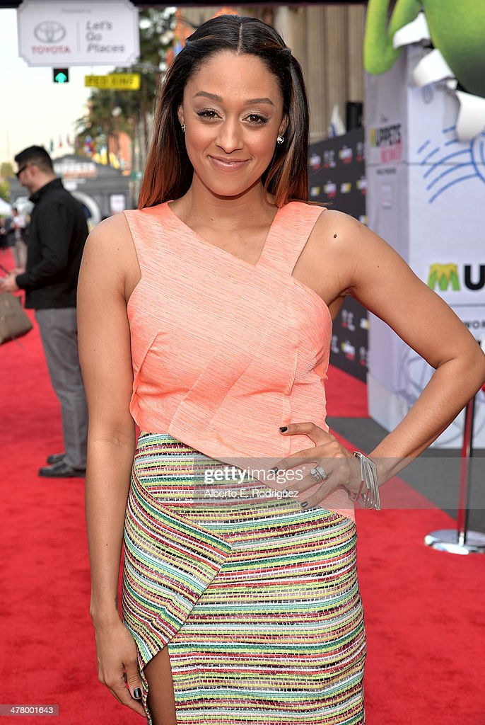Actress Tia Mowry arrives at the world premiere of Disney's 'Muppets Most Wanted' at the El Capitan Theatre on March 11, 2014 in Hollywood, California.