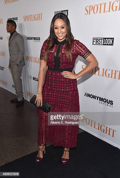 Actress Tia Mowry attends a special screening of Open Road Films' 'Spotlight' at The DGA Theater on November 3 2015 in Los Angeles California