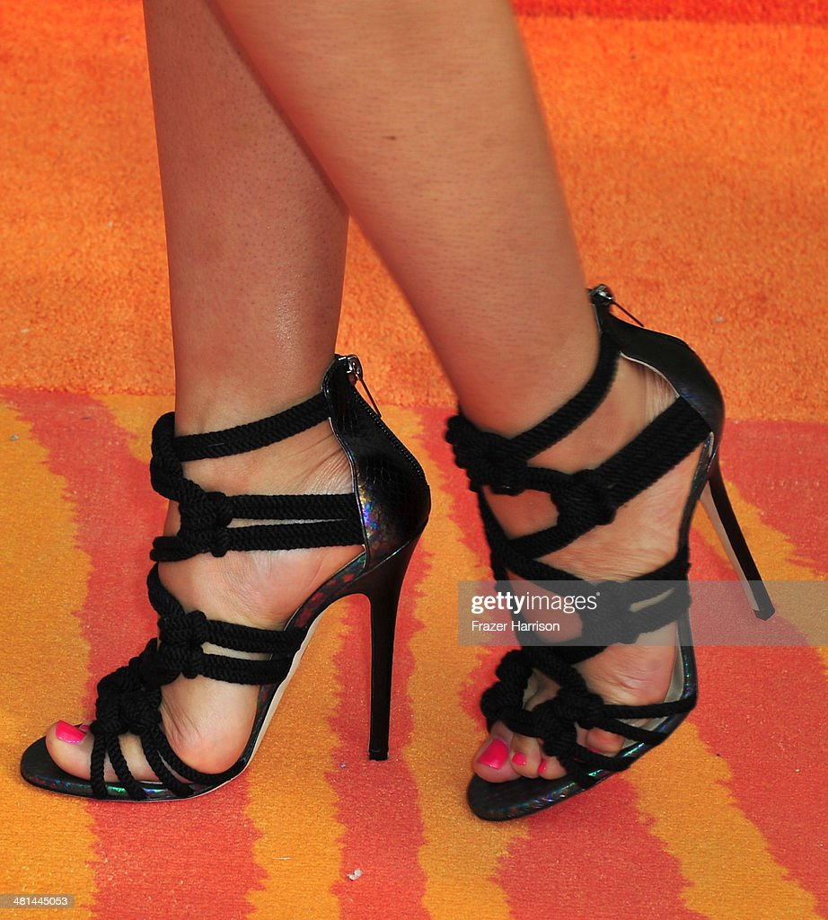 Actress Tia Mowry (shoe detail) attends Nickelodeon's 27th Annual Kids' Choice Awards held at USC Galen Center on March 29, 2014 in Los Angeles, California.