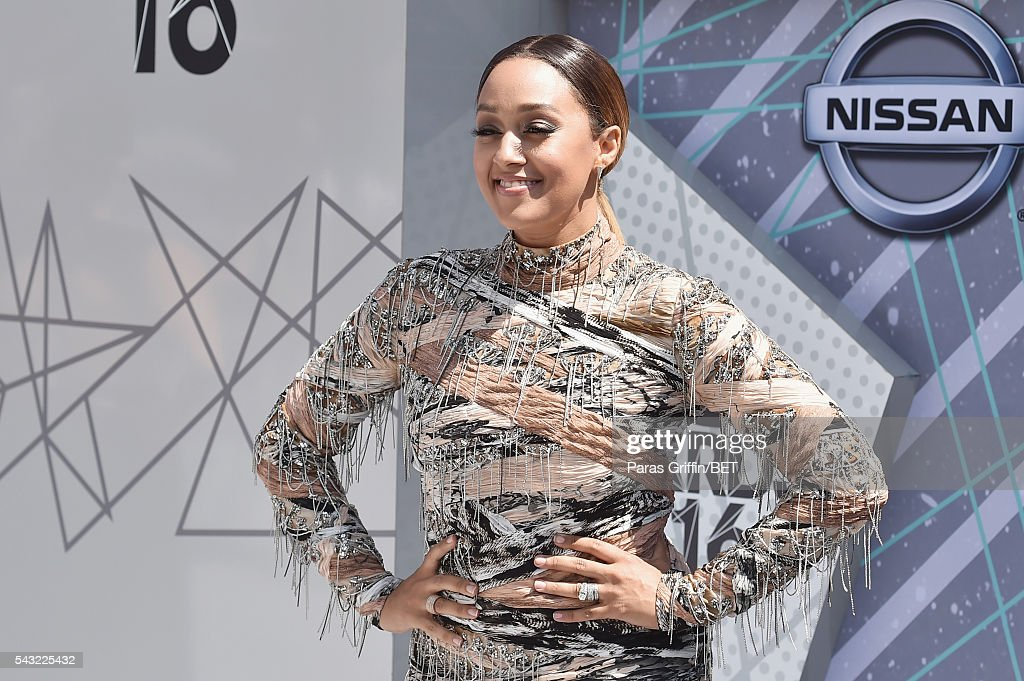 Actress <a gi-track='captionPersonalityLinkClicked' href=/galleries/search?phrase=Tia+Mowry&family=editorial&specificpeople=631098 ng-click='$event.stopPropagation()'>Tia Mowry</a> attends the 2016 BET Awards at the Microsoft Theater on June 26, 2016 in Los Angeles, California.