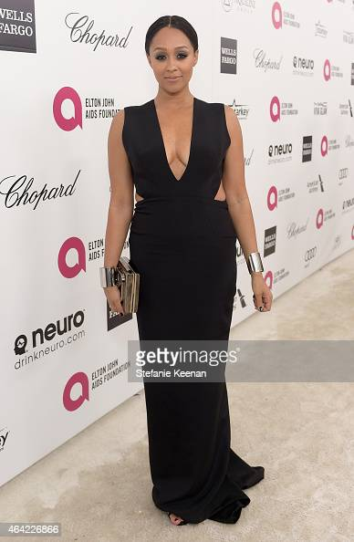 Actress Tia Mowry attends the 23rd Annual Elton John AIDS Foundation Academy Awards viewing party with Chopard on February 22 2015 in Los Angeles...