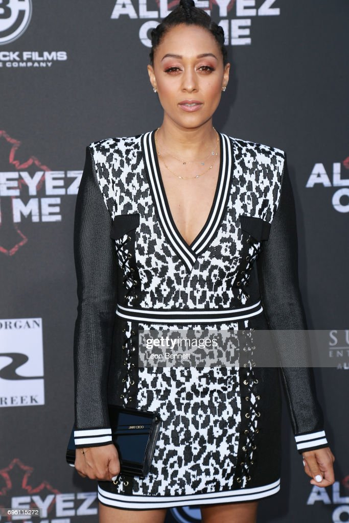 Actress Tia Mowry attends the premiere of Lionsgate's 'All Eyez On Me' at the Westwood Village Theatres on June 14, 2017 in Los Angeles, California.