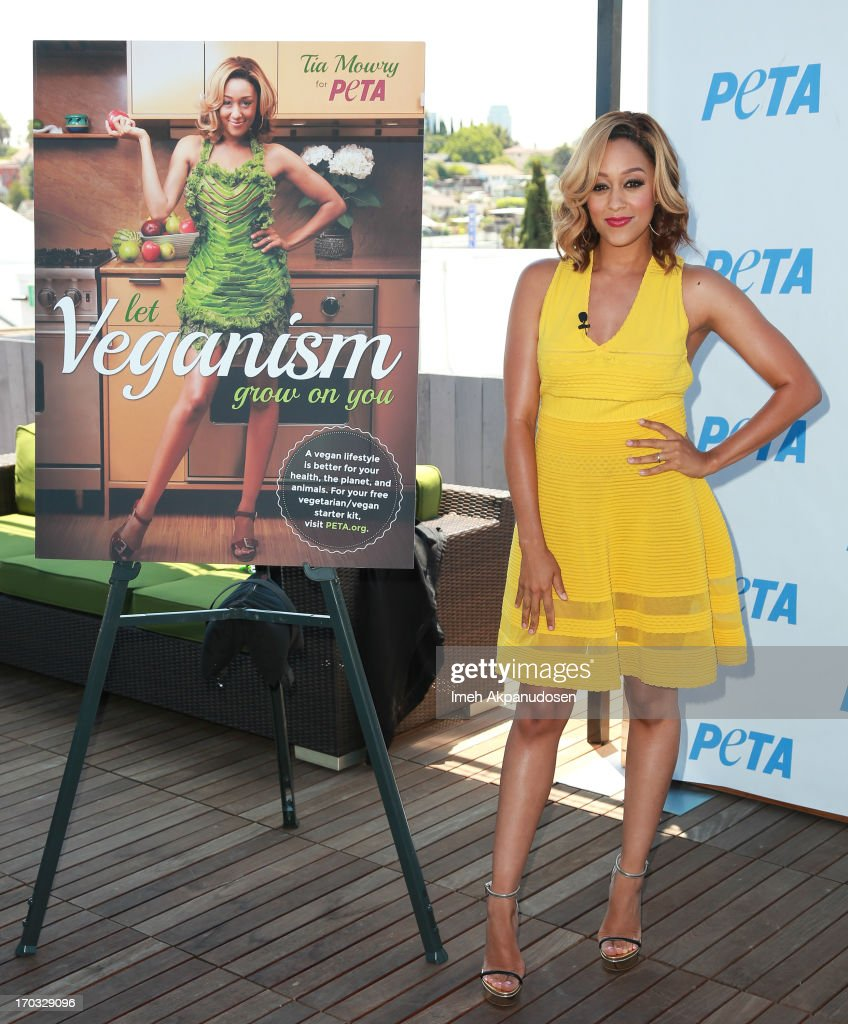 Actress <a gi-track='captionPersonalityLinkClicked' href=/galleries/search?phrase=Tia+Mowry&family=editorial&specificpeople=631098 ng-click='$event.stopPropagation()'>Tia Mowry</a> unveils her sexy new PETA campaign at The Bob Barker Building on June 10, 2013 in Los Angeles, California.