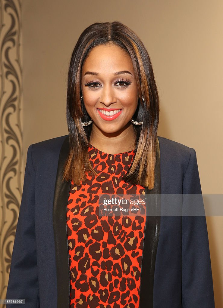 Actress <a gi-track='captionPersonalityLinkClicked' href=/galleries/search?phrase=Tia+Mowry&family=editorial&specificpeople=631098 ng-click='$event.stopPropagation()'>Tia Mowry</a> visits 106 & Park at BET studio on April 30, 2014 in New York City.
