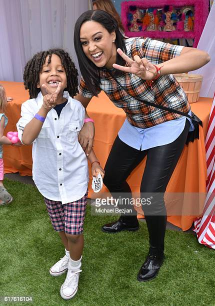 Actress Tia MowryHardrict and son Cree Hardrict attend Elizabeth Glaser Pediatric Aids Foundation 'A Time For Heroes' Family Festival at Smashbox...
